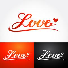 Love, hand lettering for your design, calligraphy inscription. Brush lettering for print, card, invitation, t shirt. Vector illustration.