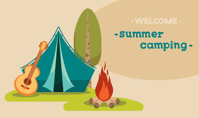 Summer tourist camping - tent and campfire.