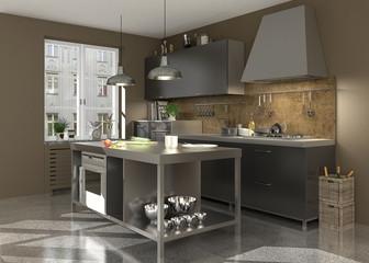 Graue Küche im modernen Landhausstil