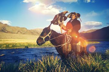Kazakh Trained Eagle Equestrian Olgei Mongolia Concept