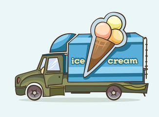 Truck - delivery ice cream.