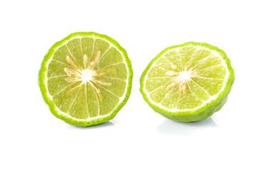 Kaffir lime on white background.