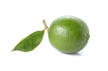 Green lemon,leaves on white background.