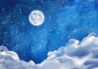Watercolor Nightly Clouds