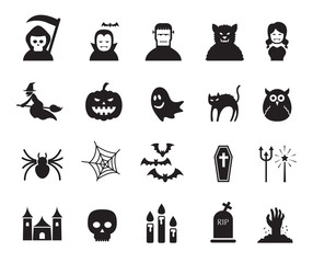 B&W icons set : Halloween Objects