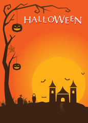 Halloween Poster with Castle Background