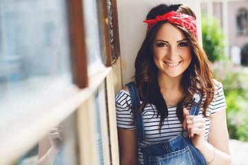 portrait of happy brunette girl