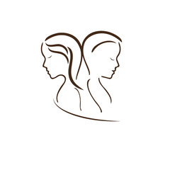 Woman and man, vector symbol in simple lines