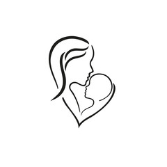 Woman, manand their child, vector symbol in simple lines