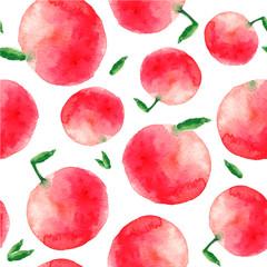 Watercolor apple seamless pattern.