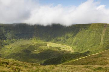Azores landscape in Faial island. Caldeira grande volcanic cone.