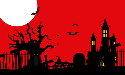 Red night with Halloween elements