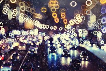 bokeh, unfocused, urban background lights winter snow