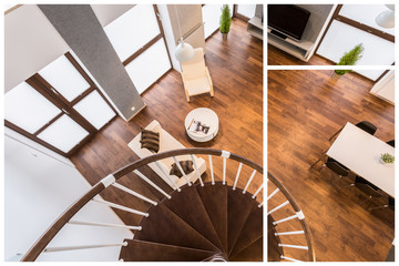 Obraz Wooden stairs and parquet - fototapety do salonu