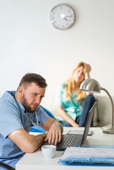 Doctors in on call room