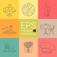 set outline, planimetric, contour, planimetric line of vector icons on the theme of the restaurants, caterers, catering, meals, eating food, food intake,