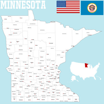 A large and detailed map of the State of Minnesota with all counties and county seats.