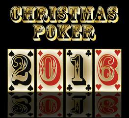 New 2016 year poker cards banner, vector illustration