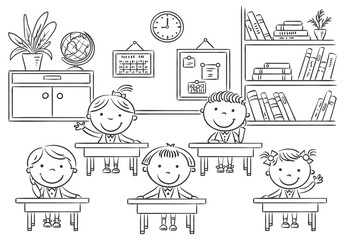 Little cartoon kids in the classroom at the lesson