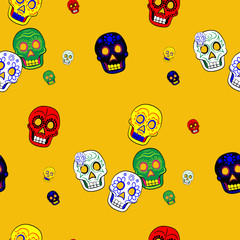 Colorful Mexican Day of the Dead Seamless Pattern Dia de Los