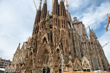 Street level view of the Sagrada Familia Barcelona