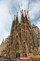 Facade of Sagrada Familia Church in Barcelona