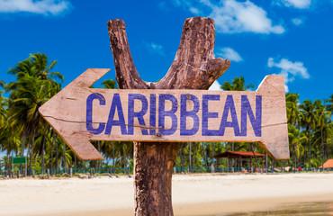 Caribbean arrow with beach background