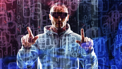 Zero one digits, abstract background and computer hacker