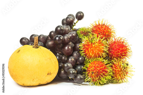 Fototapete Tropical fruits on white background