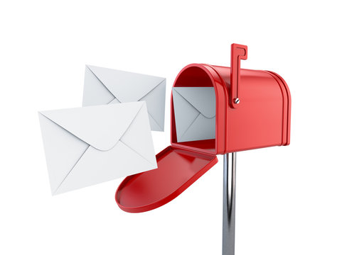 Red mailbox with letters