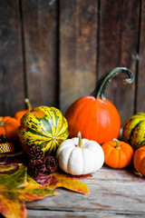 Colorful pumpkins and fall leaves on rustic wooden background