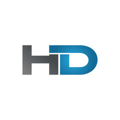 HD company linked letter logo blue
