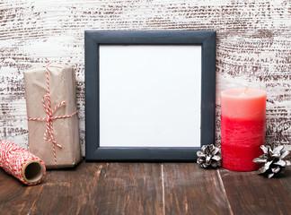 Craft style Christmas decor and blank frame