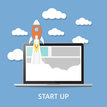 Concept. Project start up - launch illustration