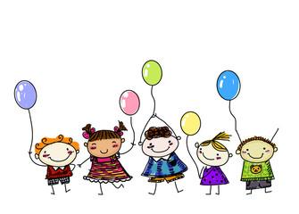 Sketch children with balloon
