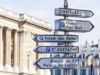 PARIS, FRANCE, on AUGUST 26, 2015. Elements of city navigation. A direction sign to sights
