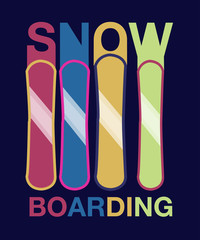 Snowboard -hand drawn sport vector typography poster