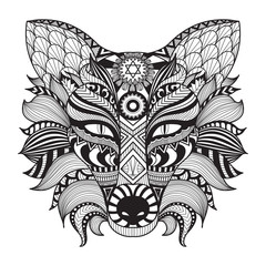 Detail zentangle fox isolated on white background.