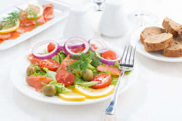 fresh salad with salted salmon