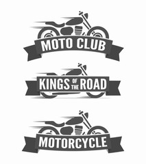 Set of vintage motorcycle labels, badges and logos