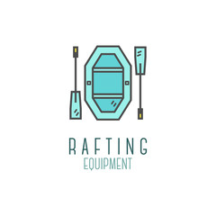 Cute minimal rafting equipment shop icon, logo, label or line