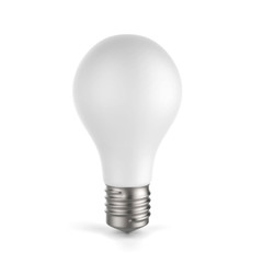 3d white blang light bulb, isolated on white background