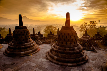 Top Borobudur Temple in Yogyakarta, Java.