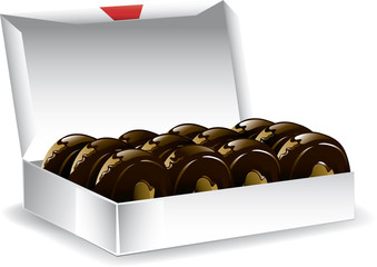 Illustration of a box of freshly baked chocolate donuts.