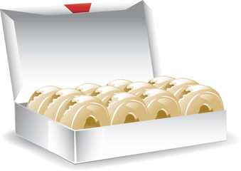 Illustration of a box of freshly baked donuts.