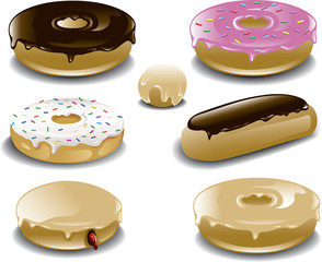 Illustration of a variety of donuts.
