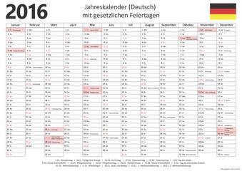 Jahreskalender 2016 mit Feiertagen (Deutsch)
