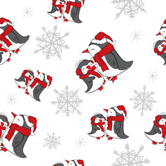 Seamless background with snowflakes and penguins . New Year, Christmas , holiday .