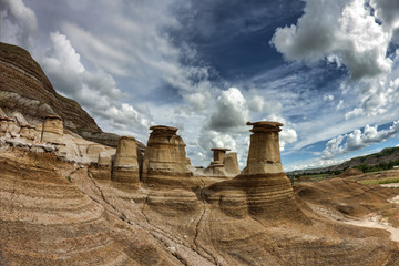 Iconic Hoodoos of Drumheller, Albera badlands.