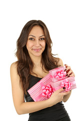 Young beautiful brunette woman with a gifts on white background